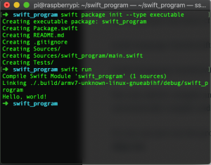 make new swift project on raspberry