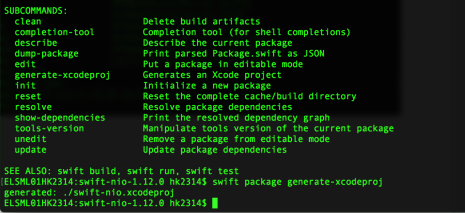 swiftnio project file generated by terminal